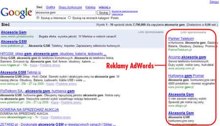 Przykładowa strona Google z reklamami AdWords